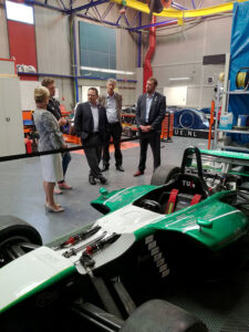 Upstate SC Alliance Senior Business Recruiter Marc Metcalf, left, and Greenwood Partnership Alliance's Heather Simmons Jones, and Alliance Pickens' Ray Farley visit the Automotive Campus in Helmond, the Netherlands.